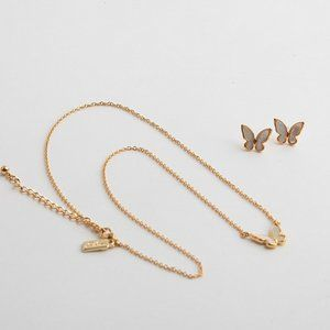 Kate Spade Shell Butterfly Earrings Necklace Set